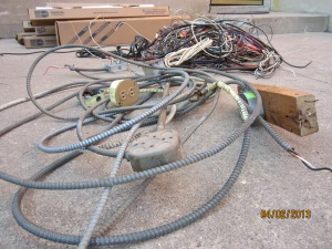 more old wiring pulled out of the house...