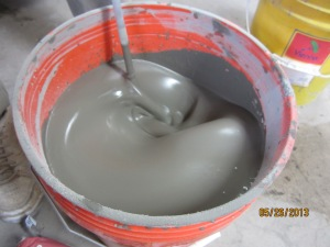 Mixing our concrete pancake batter