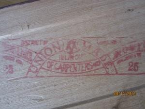 Carpenter's union stamp.