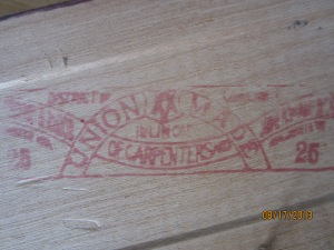 Carpenter's union stamp.