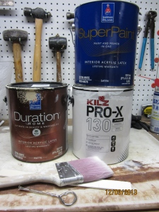 "Sherwin-Williams Duration in ""Sundew"" and in Dover White. Kilz Pro-X primer. Don't paint without it."