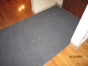Gray carpet. Temporary gray carpet.