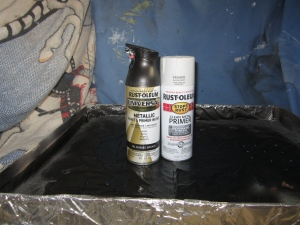 "Rustoleum spray primer and metallic spray paint in ""oil rubbed bronze"""